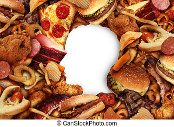 Eating fatty food and unhealthy diet health concept with a group of greasy fast food in the shape of a human head symbol of dangerous nutrition lifestyle and icon of addiction to risky snacks in a 3D illustration style.