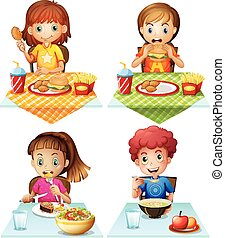Eating food - Children eating food on the dining table