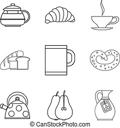 Eating for tea icons set, outline style
