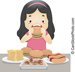 Eating Girl - Illustration of a Little Girl Going on an...