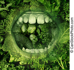 Eating Green - Eating green and healthy food concept with an...