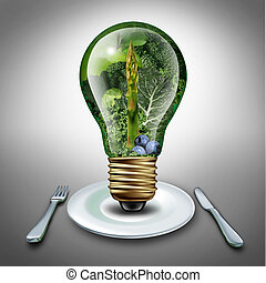 Eating healthy idea and diet tips concept as a lightbulb with fruits and vegetables inside as an inspiration symbol for health food lifestyle and fresh produce ideas for dinner or lunch.