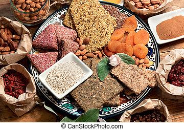Eating healthy organic food, diverse vegetarian food
