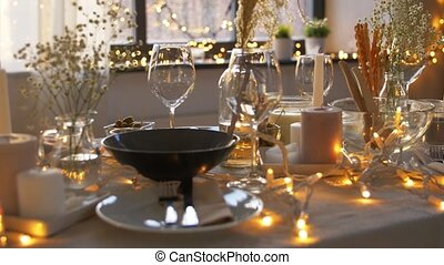 dinner party table serving at home - eating, holiday and ...