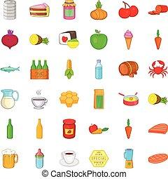 Eating icons set, cartoon style