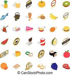 Eating icons set, isometric style
