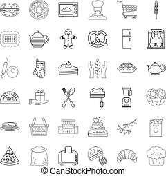 Eating icons set, outline style