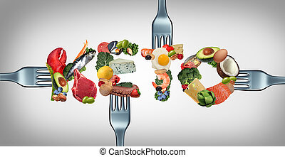 Eating Keto ketogenic food as text for a low carb diet and high fat dieting lifestyle as fish nuts eggs meat avocados as a therapeutic meal with 3D illustration elements.