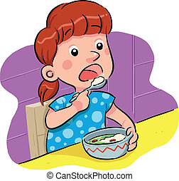 Eating - little girl eating her supper