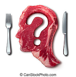 Eating meat questions concept or diet and nutrition decisions as a red steak with a question mark cut out of the raw food with a dinner table setting with a fork and knife as a symbol of menu uncertainty.