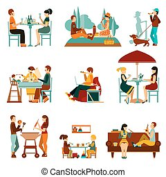 Eating People Icons Set - People eating out and an homes...
