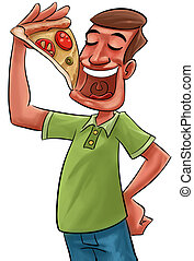 eating pizza - young adult eating a big slice of pizza