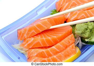 Eating salmon sushi   - Eating salmon sushi