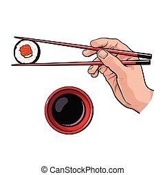 hand holding chopsticks vector illustration of hands. Black Bedroom Furniture Sets. Home Design Ideas