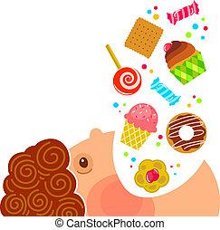 eating sweets - cartoon boy eating lots of sweets