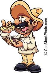 Eating tacos - Mexican man eating tacos. Vector clip art ...