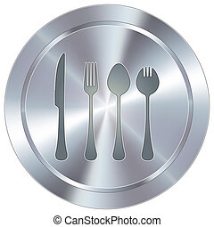 Eating utensils industrial button