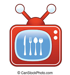 Eating utensils on retro television - Eating utensils icon...