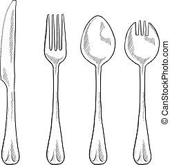 Eating utensils sketch - Doodle style eating utensils ...