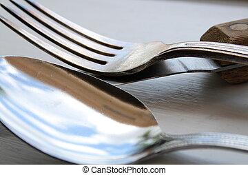 Eating utensils - Old eating utensils closeup