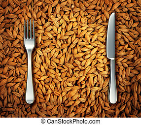 Eating Wheat - Eating wheat food as a health concept with a...