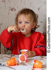 Eating yogurt