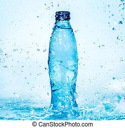 eau, éclaboussure, bouteille