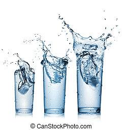 eau, éclaboussure, dans, lunettes, isolé, blanc