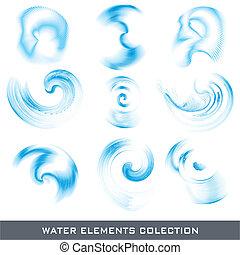 eau, éléments, conception