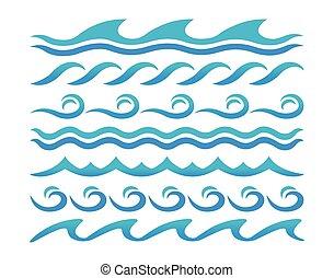 eau, éléments, vagues, vecteur, conception