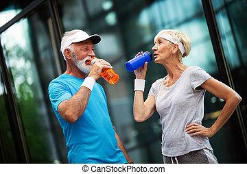 eau, énergie, couples mûrs, remplir de nouveau, hydrate,...