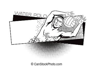 eau, été, sports., genres, polo