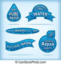 eau, étiquettes, naturel