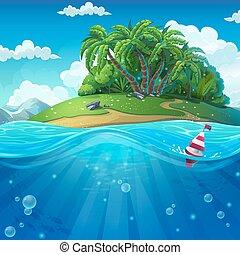 eau, île, flotteur, fond