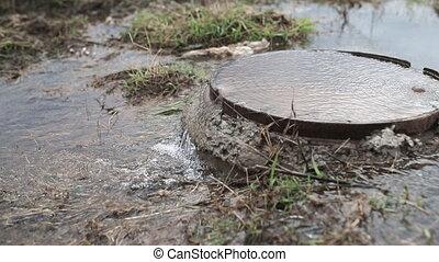 eau, accident, sewer., fluxs, manhole., dehors