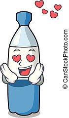 eau, amour, dessin animé, bouteille, mascotte