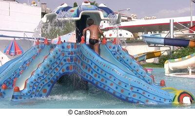 eau, amusement, parc, avoir, enfant