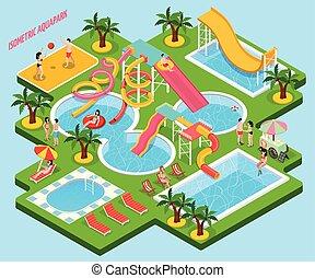 eau, aquapark, isométrique, parc, composition