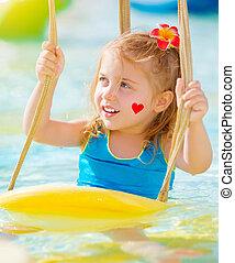 eau, attractions, petite fille