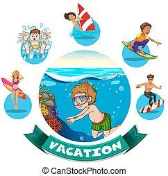 eau, bannière, conception, activités