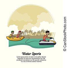 eau, bannière, sports