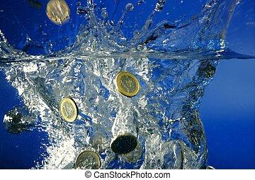 eau, bas, pièces, fallin, euro