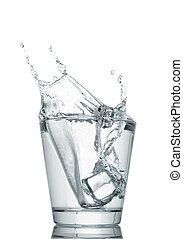 eau, blanc, éclaboussure, isolé, lunettes