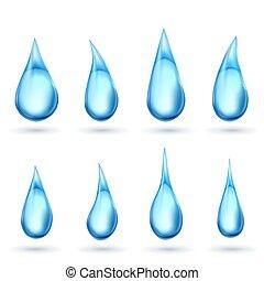 eau, blanc, gouttes, isolé, fond