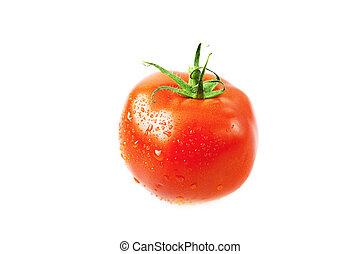 eau, blanc, gouttes, isolé, tomates