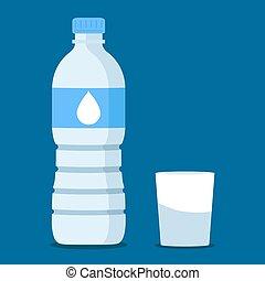 eau, bleu, bouteille