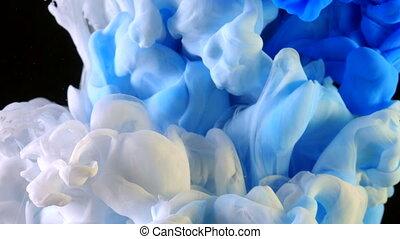 eau bleue, black., art, créer, peintures, résumé, backgrounds., réagir, formations, élevé, laissé tomber, métamorphose, appareil-photo., encre, mélangé, blanc, tir, vitesse, nuage