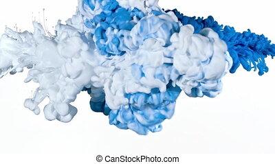 eau bleue, blanc, encre