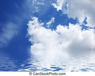 eau bleue, ciel