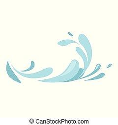 eau bleue, collection, symboles, ondulé, eclabousse, vagues